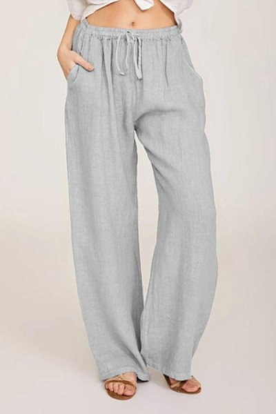 Solid color elastic waist pockets loose casual trousers