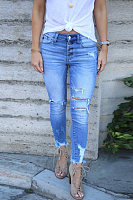 Washed Ripped High-rise Skinny Jeans