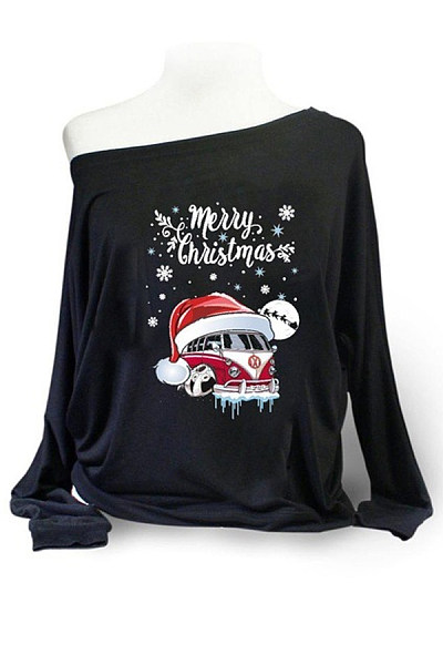 Christmas Printed Single Shoulder Collar T-Shirt