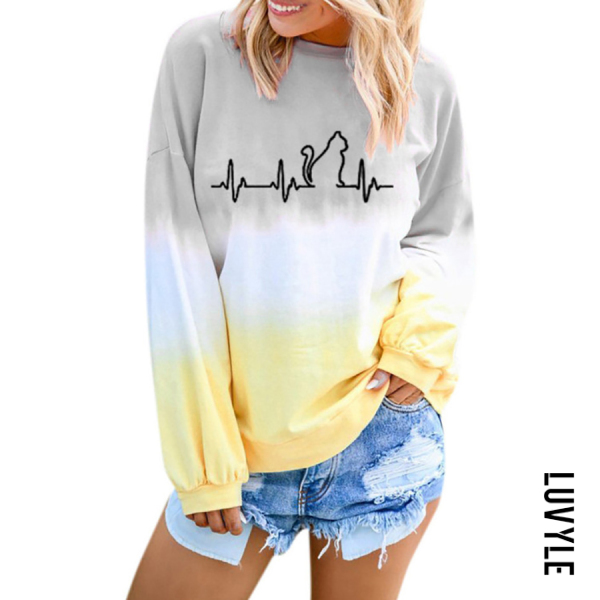 Gray Casual Gradient Print Round Neck T-Shirt Gray Casual Gradient Print Round Neck T-Shirt