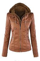 Hooded  Zipper  Plain Basic  Jackets