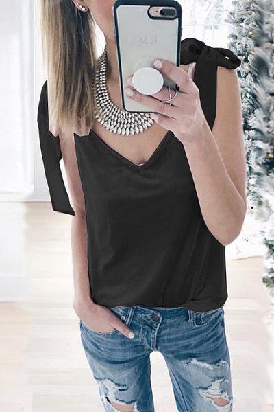 Bow Strap Sexy V-Neck Sleeveless T-Shirt