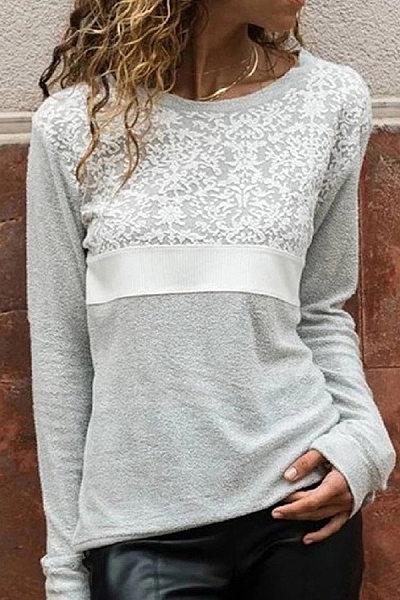 Casual Lace Round Neck Long Sleeve Loose Sweatershirt