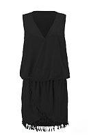 V Neck  Asymmetric Hem Fringe  Plain  Sleeveless Bodycon Dresses