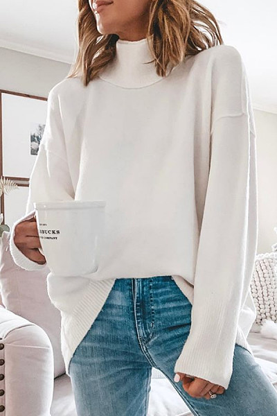 Short High Collar Loose-Fitting Plain Sweater