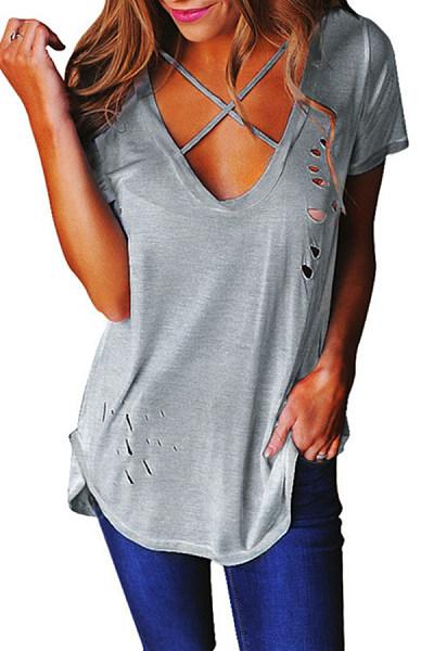 V Neck  Cutout Lace Up  Plain T-Shirts