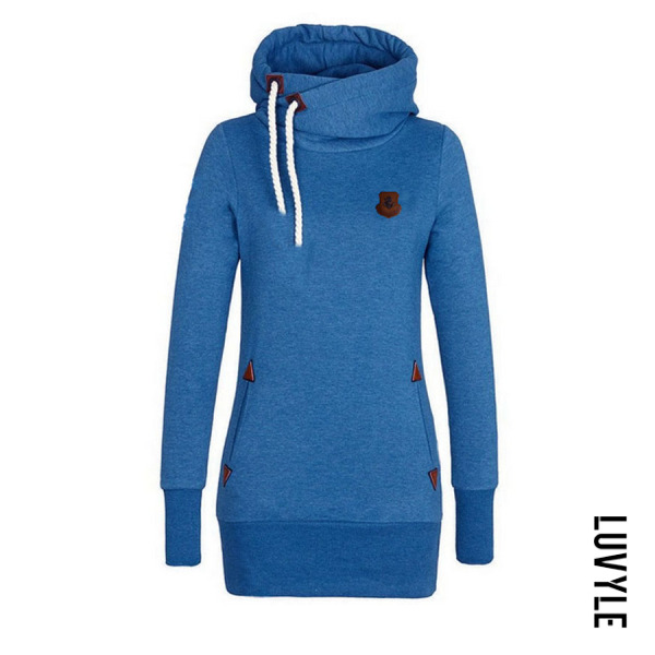 Blue Slit Pocket Plain Midi Hoodies Blue Slit Pocket Plain Midi Hoodies