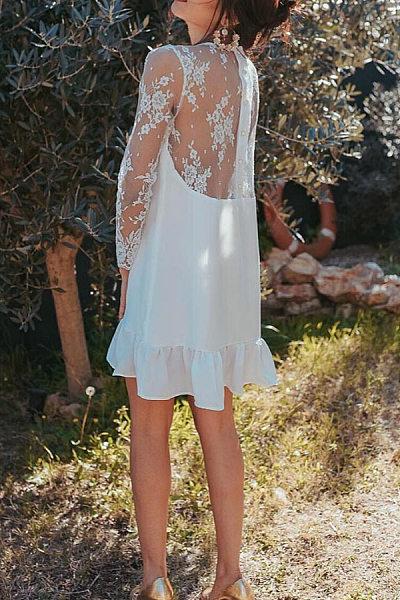 Round Neck Lace Plain Casual Dresses