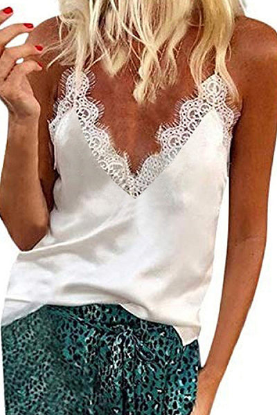 Fashion V-neck Eyelash Lace Top
