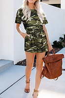Round Neck  Camouflage  Short Sleeve  Playsuits