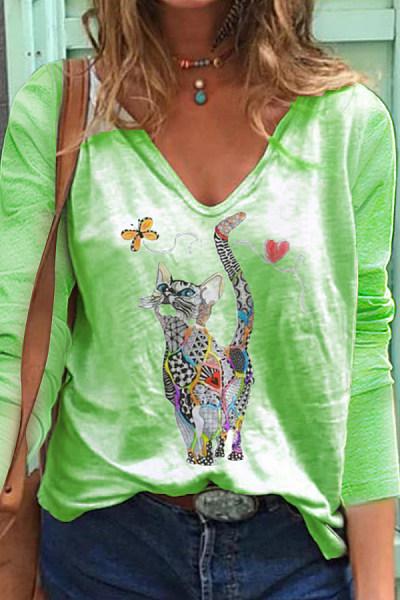 Cat Printed V Neck Long Sleeve T-shirt