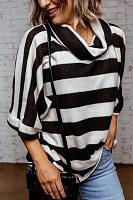 Heap Collar Half Sleeve Striped T-shirt