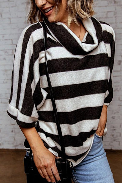 Heap Collar Half Sleeve Striped T-shirt