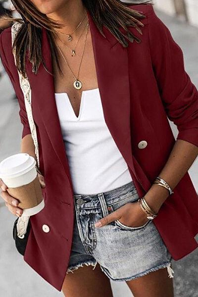 Women's Long Sleeve Button Blazer