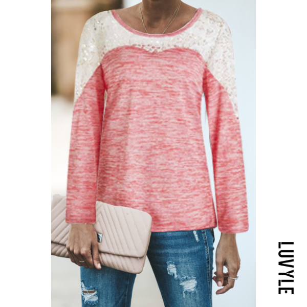 Pink Round Neck Decorative Lace Assorted Colors T-Shirts Pink Round Neck Decorative Lace Assorted Colors T-Shirts