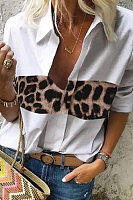 A Lapel Long Sleeve Leopard Splice Blouse