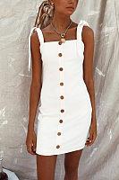 Spaghetti Strap  Single Breasted  Plain  Sleeveless Bodycon Dresses