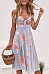 Spaghetti Strap  Single Breasted  Floral Printed  Sleeveless Maxi Dresses