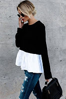 Round Neck  Tiered  Patchwork T-Shirts