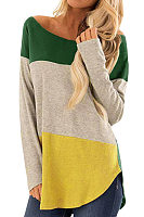 Round Neck  Asymmetric Hem  Patchwork T-Shirts