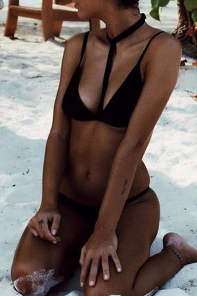 Sexy Spaghetti Strap Plain Bikini