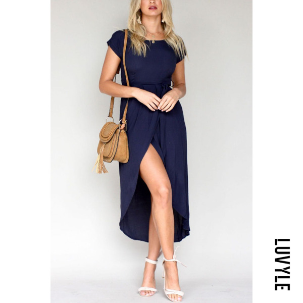 Navy Blue Round Neck Asymmetric Hem Belt Plain Short Sleeve Maxi Dresses Navy Blue Round Neck Asymmetric Hem Belt Plain Short Sleeve Maxi Dresses