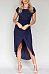 Round Neck  Asymmetric Hem  Belt  Plain  Short Sleeve Maxi Dresses