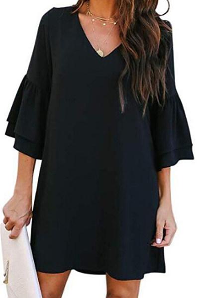 V Neck  Cascading Ruffles  Plain Casual Dresses