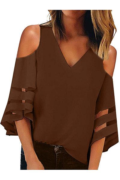 V-Neck Strapless Shoulder Patchwork T-Shirt