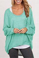 Round Neck  Asymmetric Hem  Plain  Batwing Sleeve Sweaters