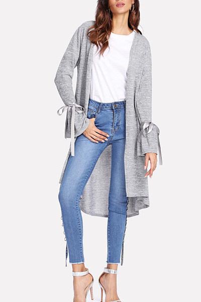 Plain  Puff  Sleeve Casual  Cardigans