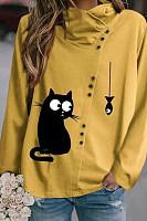 Irregular Collar Decorative Buttons Blouse