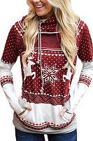 Christmas  Hooded  Drawstring  Print Hoodies & Sweatshirts
