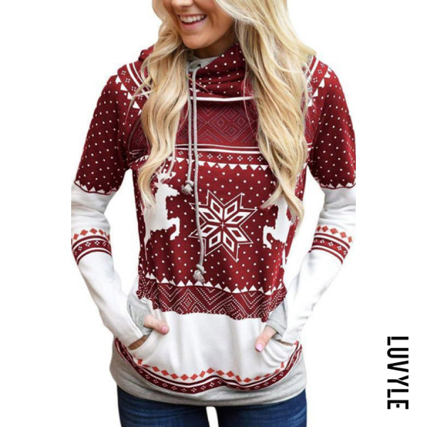 Red Christmas Hooded Drawstring Print Hoodies & Sweatshirts Red Christmas Hooded Drawstring Print Hoodies & Sweatshirts