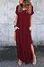 V Neck  Side Slit  Plain  Short Sleeve Maxi Dresses