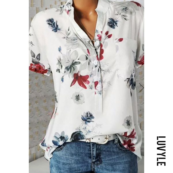 White Stand Collar Short Sleeve Flower Print Loose T-Shirt White Stand Collar Short Sleeve Flower Print Loose T-Shirt