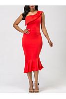 One Shoulder Plain Mermaid Midi Bodycon Dress