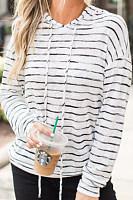 Hooded  Drawstring  Striped Hoodies
