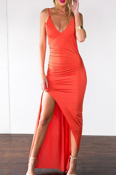 Spaghetti Strap Side Slit Sleeveless Maxi Dresses