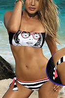 Strapless  Backless  Printed Bikini
