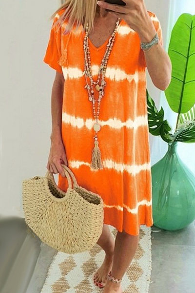 V Neck Short Sleeve Colouring Casual Dress