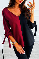 V Neck Color Block Elegant Blouses