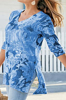 V Neck Floral Long Sleeve T-shirt