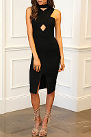 Patchwork Slit  Plain  Sleeveless Bodycon Dresses