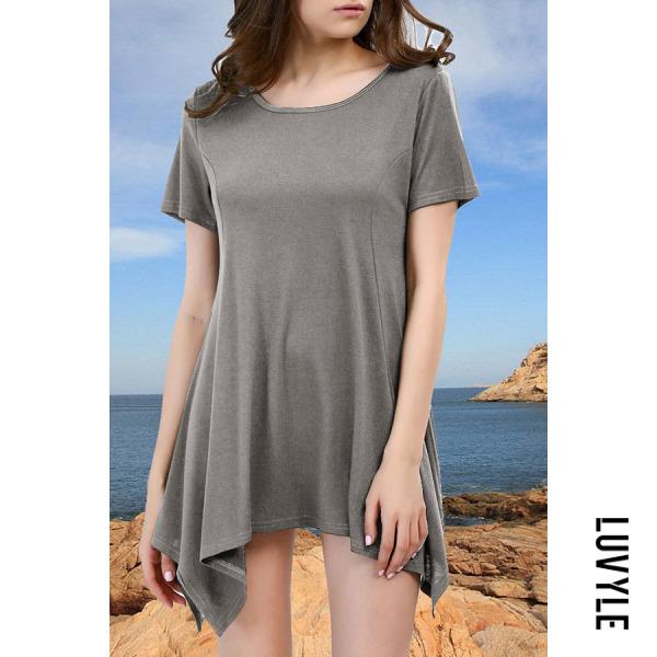 Light Gray Round Neck Asymmetric Hem Plain T-Shirts Light Gray Round Neck Asymmetric Hem Plain T-Shirts