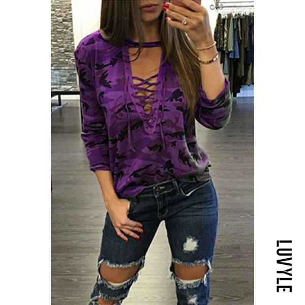 Purple Deep V Neck Lace Up Camouflage T-Shirts Purple Deep V Neck Lace Up Camouflage T-Shirts