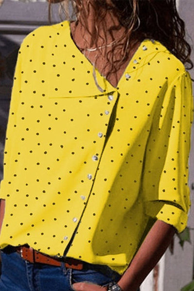 Asymmetrical Neck Long Sleeve Dots Printed Casual Blouses