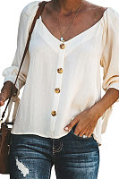 V Neck  Loose Fitting Single Breasted  Plain Blouses
