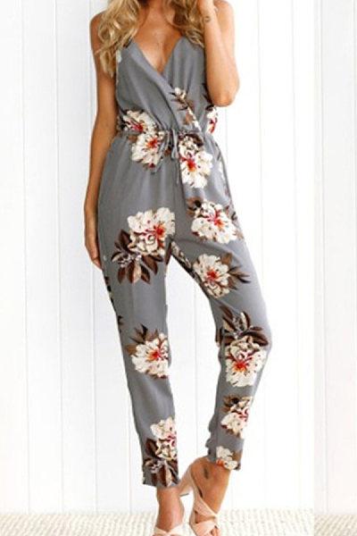 Fashionable printed condole belt jumpsuit
