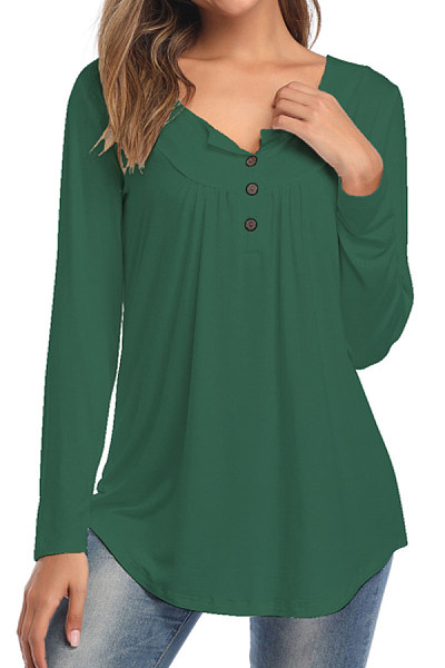 Round Neck Buttons Long Sleeve T-shirt